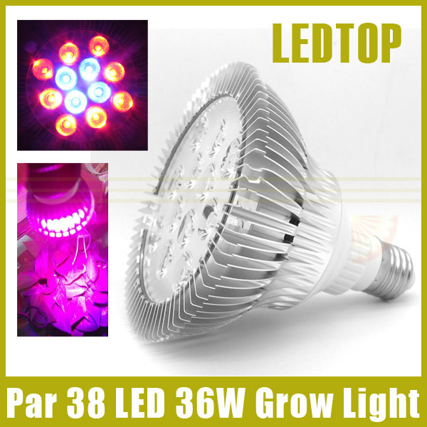 Par 38 Aluminum 36W Led Plant light E27 Led Hydroponic Green Plant Flowers Vegatables Grow Lights Growing Lamp AC 85-265V(China (Mainland))