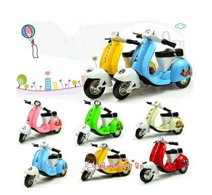 Super cute 1pc 11cm mini cartoon pedals motorcycle pull back motor bike little sheep alloy model car children boy gift toy(China (Mainland))