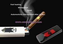 Gift Black Portable Electronic USB Rechargeable Lighter  for Cigarette Cigerate Colour Black SGP-P
