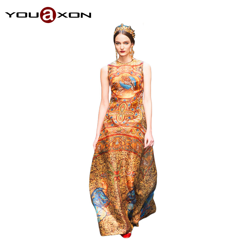 1388 YouAxon Real Photo Celebrity Runway Ethnic Retro Vintage Long Maxi Silk Print Evening Party Dresses for Women Dress Summer(China (Mainland))