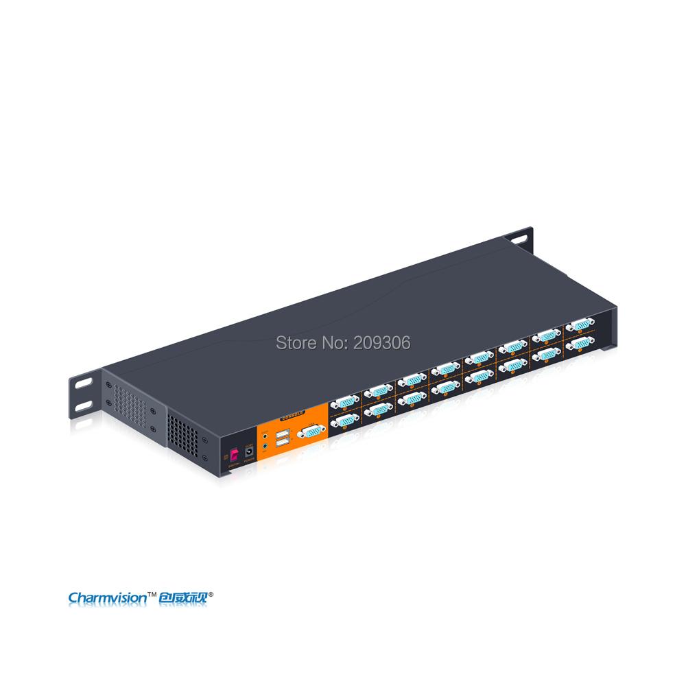 Charmvision VK1601A 16 ports USB KVM switcher with Audio MIC Automatic USB VGA Audio MIC switcher KVM Switcher with hot key