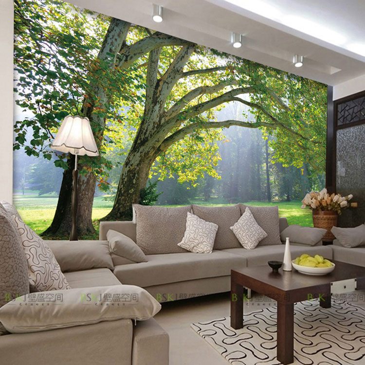3d photo wallpaper nature park tree murals bedroom living for Tv room sofa