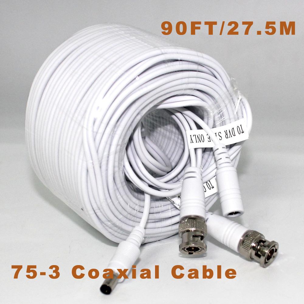 27.5m CCTV Video Cable Video+Power BNC+DC 90FT BNC Coaxial Cable CCTV Accessories 75-3 Coaxial Cable(China (Mainland))