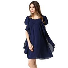 Buy Black Navy Color Chiffon Dress 2016 Summer O Neck butterfly sleeve loose Dresses L XL XXL XXXL 4XL 5XL Plus Size Women clothing for $21.70 in AliExpress store