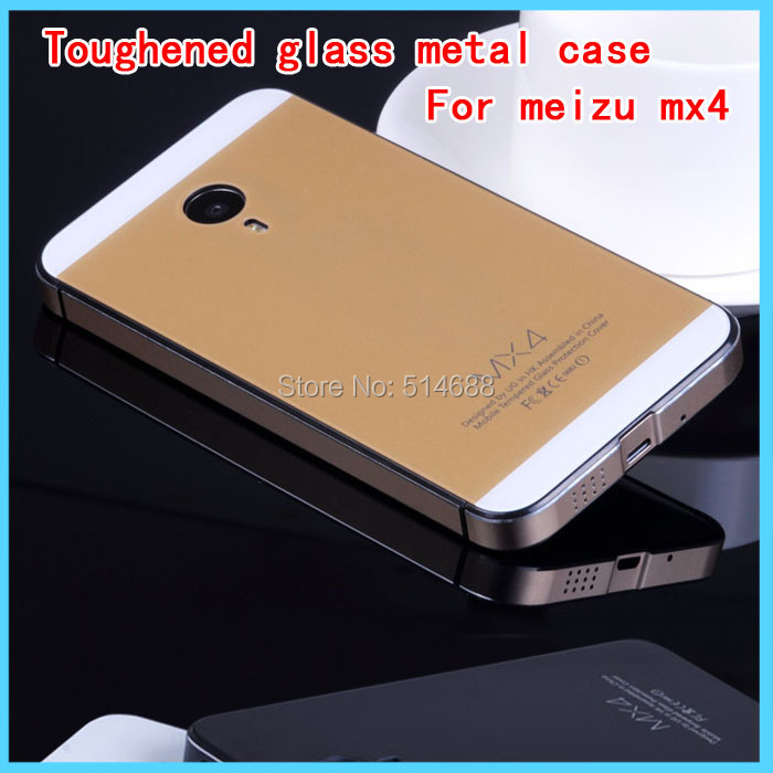 Luxury Tempered Glass Aluminum Metal Frame Battery Back Cover Case meizu MX4 Mobile phone shell+Screen Protector - Petsun trading company ltd store
