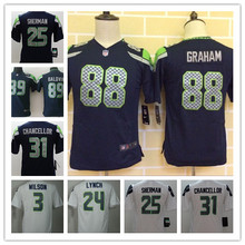 2016 Youth Seattle Seahawks #3 Russell Wilsons #12 Fan #24 Marshawn Lynch Kids navy,camouflage(China (Mainland))