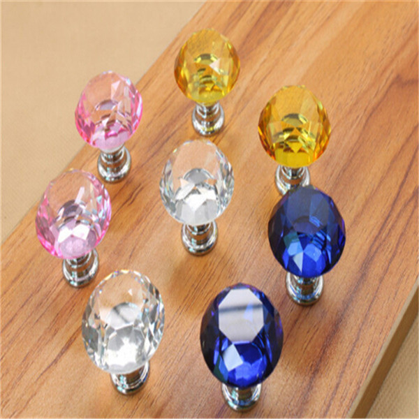 100pcs/lot 30mm crystal handles decorative kitchen drawer dresser door cabinet  knobs and pulls fedex free shipping
