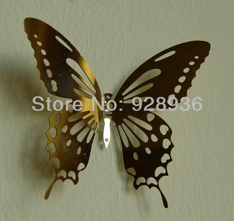 Gold color 8 0 3d butterfly mirror wall sticker home for 3d wall butterfly decoration