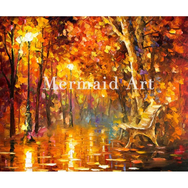 Buy Hand Painted Landscape High Quality Abstract Palette Knife Mediterranean Noon Oil Painting Canvas Decoration Living Room Artwork cheap