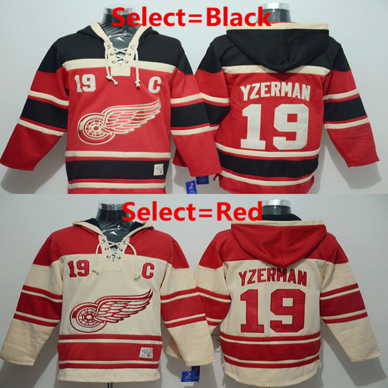 Steve Yzerman Hoody Jersey Red Wings #19 Steve Yzerman Home Premier Stitched High quality hoodie Ice Hockey Jerseys M-XXXL(China (Mainland))