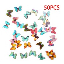 Buy New style 50Pcs/Lot Colorful 2Holes Mixed Butterfly Wooden Buttons Sewing Scrapbooking garment accessories for $1.36 in AliExpress store