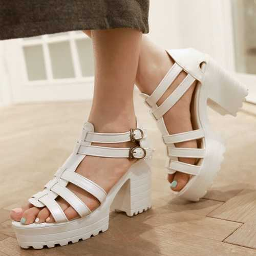 2015 High Platform Sandals Fashion Open Toe Bandage Upper Thick High Heels Gladiator Sandals Women Double Buckle Cheap Shoes(China (Mainland))