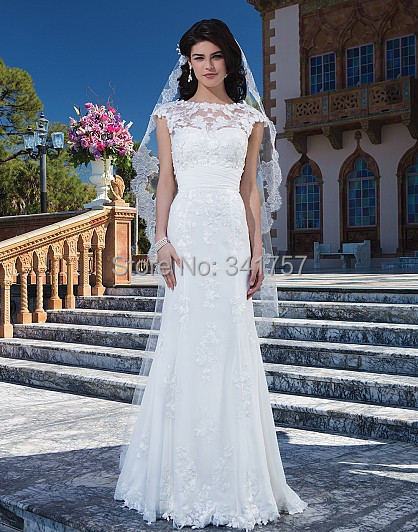Islamic Wedding Dresses Top Lace 2015 Bridal Gowns Sashes Mermaid Cap Sleeve Vestido Branco Sheer Neck/Back Custom Made WL3100 - Full Romantic store