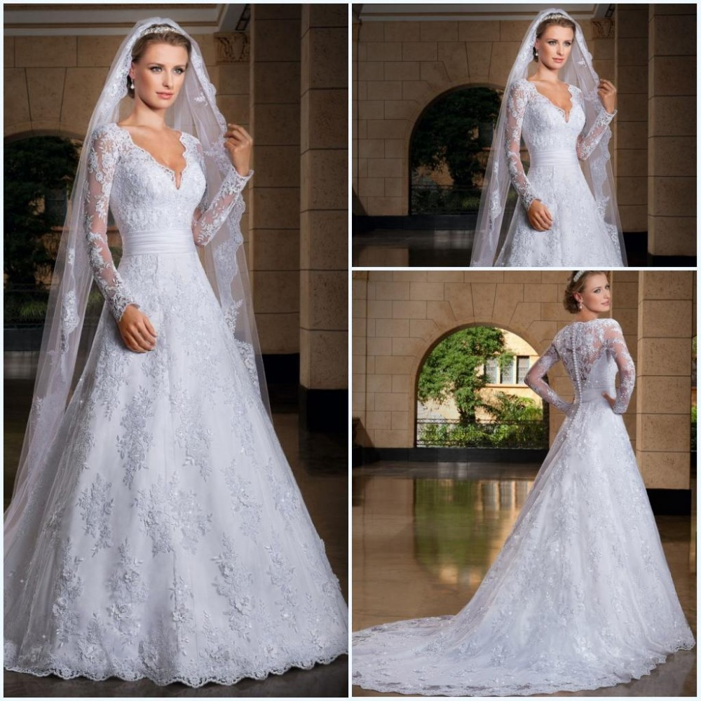 Lace Wedding Dress Buy : Discount free shipping white v neck wedding dresses with