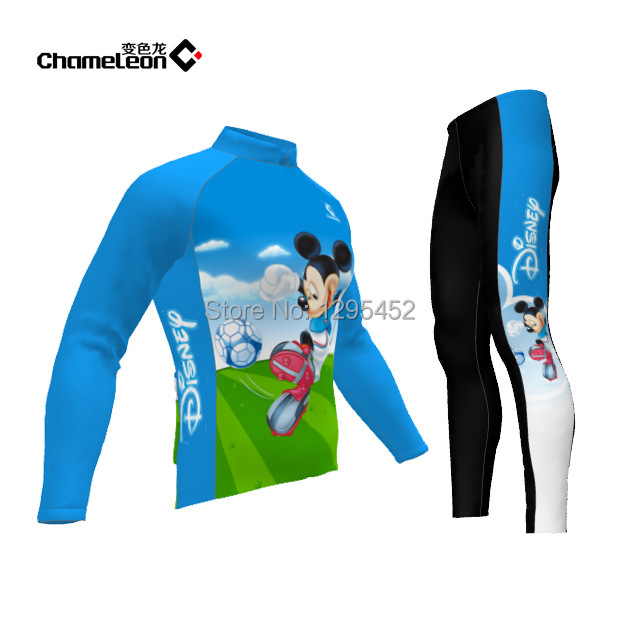 Free Shipping !!!Mickey football Kid/Adult Long sleeve+Trousers set Cycling Jersey bike/cycle/bicycle jersey cycling clothing(China (Mainland))