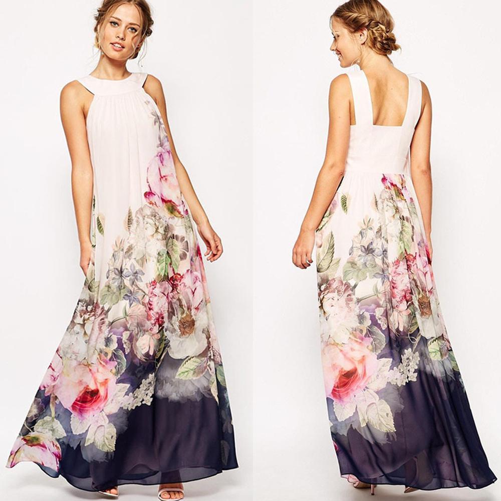 Beautiful Women Maxi Dress Summer Dress 2015 Deep V Neck Sleeveless Floral