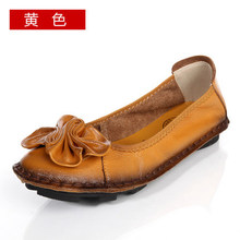 2016 Women Shoes Genuine Leather Flat Shoes Woman Hand-sewn Leather Loafers Cowhide Flexible Spring Casual Shoes Women Flats(China (Mainland))