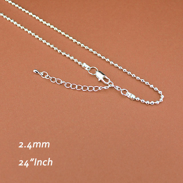 Metal With Square Clasps Extender Chains Silver-plated 2.4mm For Pendants 24inch Ball Beads Jewelry Necklace Links Diy Findings<br><br>Aliexpress