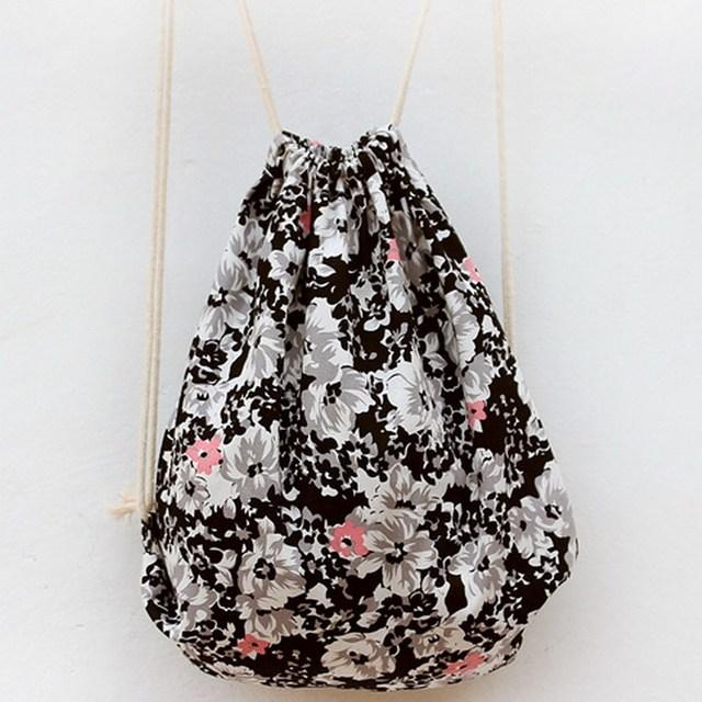 Цветок печать шнурок Sackpack женщины холст небольшой мини летний пляж , свежий стиль ...