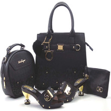 (1307-L11)Wholesale Italian Ladies Matching Shoes And Bags Set in black Color Heel 6cm(Szie:37-43)(China (Mainland))