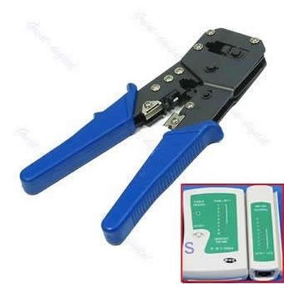 RJ45 RJ12 LAN Network Cable Tester+Crimper Tool+F Plugs(China (Mainland))