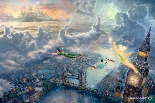 Thomas Kinkade prints Original oil painting Tinker Bell And Peter Pan Fly To Neverland Art print on canvas Home wall decor