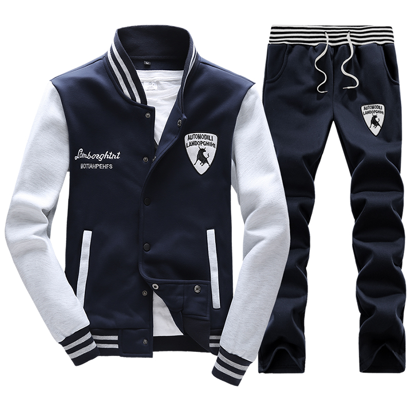 Spring Men's Baseball Sports Suit Sweatshirts Patchwork Sleeve Men Hoodies Stand Collar Male Outwear Tracksuit + Pants 4XL,PA040(China (Mainland))