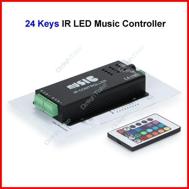 ( 5 pcs/lot ) 24 Keys 18A 180W Music Sound Sensitive IR Wireless LED RGB Remote Controller For 3528 5050 Led Strip Wholesale(China (Mainland))