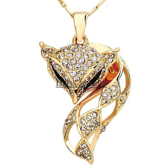 2015 Fashion Charm Gold Crystal Rhinestone Pave Fox Pendant Necklace For Women Animal Jewelry Gifts(China (Mainland))