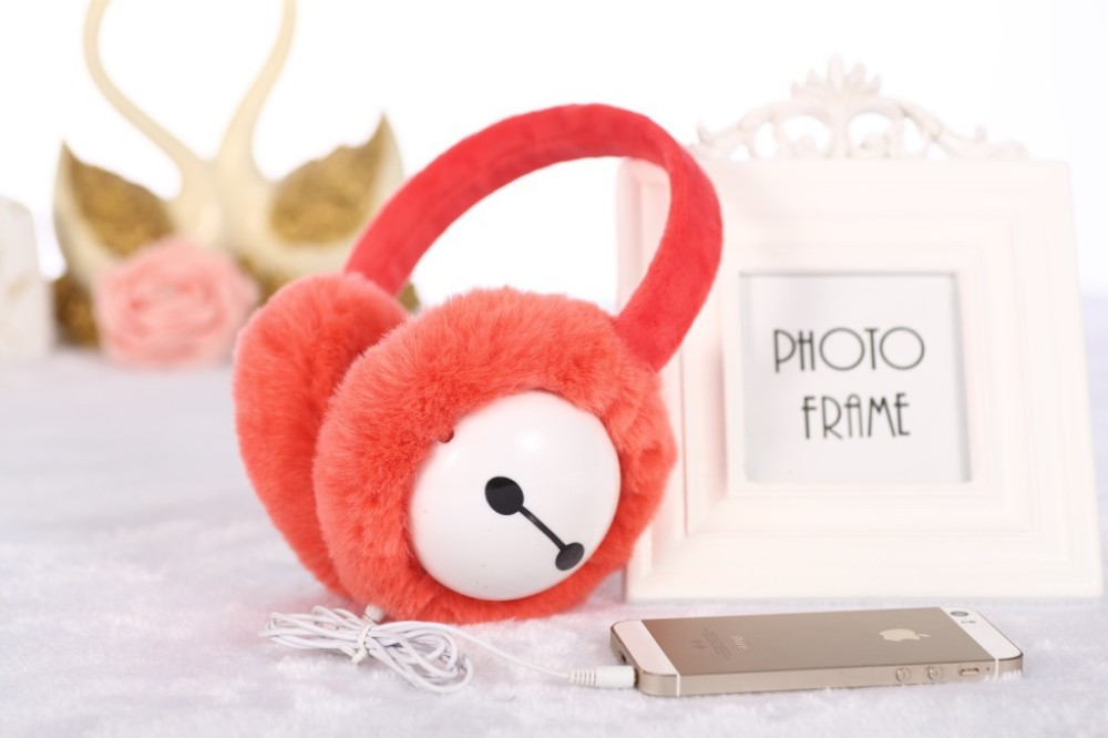 Plush headphones winter ear warmer earmuffs music Cartoon earmuffs Headphone for Girls