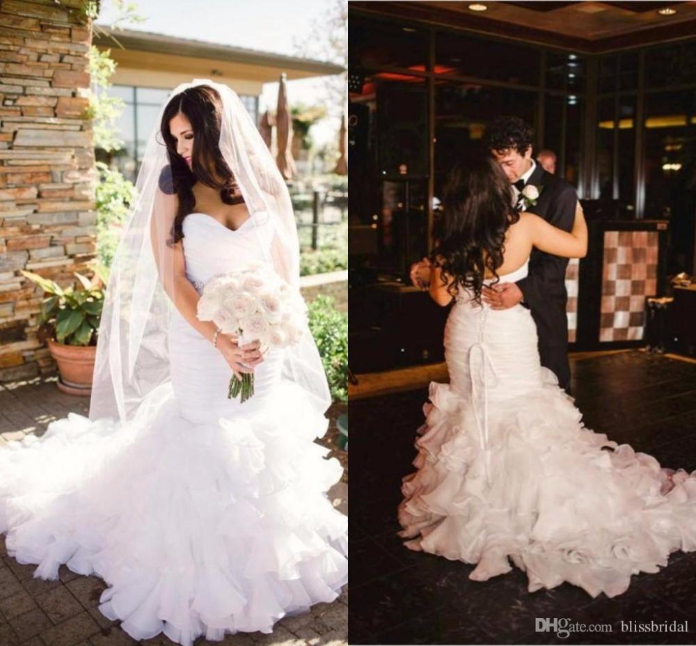 Mermaid Wedding Dresses With Train : Plus size mermaid wedding dresses lace up bridal gowns sweep train