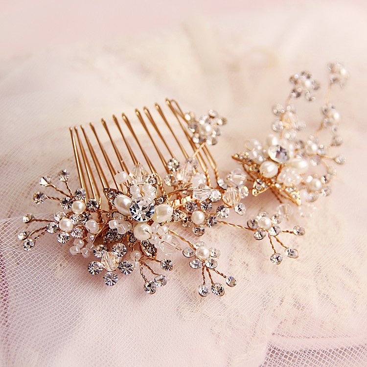 Handmade Flower Bridal Crystals Pearls Hair Vine Headpiece Gold Wedding Proms Comb Pin(China (Mainland))