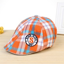 New 2016 Cotton Beret Boina Hat Kids Berets Caps Fashion Plaid Hats for Children Girls and Boys Star Kids 1987 Flat Cap 2Styles(China (Mainland))