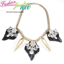 New  Arrival Brand Vintage Black Leaf Pendants Antique Gold Rhinestone Necklace  Link  Chain Women Jewelry Free Shipping(China (Mainland))
