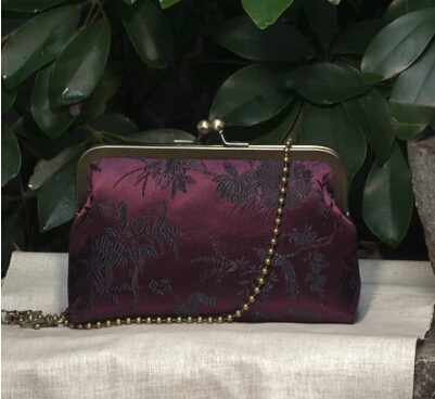15 Handmade Silk Chinese Dark Purple Fashion Brocade Money Card Small Packet Mouth Gold Metal Frame Women Handbag Finish Product(China (Mainland))
