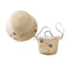 2019 جديد 2 قطعة قبعة قش على الموضة مجموعة الحقائب الصيف زهرة للطي شاطئ الطفل قبعة الشمس القش حقيبة(China)