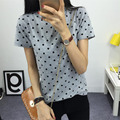 Women s Summer T Shirt Fashion Clothes O neck Polka Dotted Short Tops Bottoming Cotton Printing