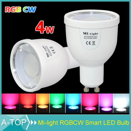 2.4G Wireless GU10 4W Mi Light RGBW RGBWW LED Bulb Lamp AC85-265V 110V 220V Dimmable & WiFi Compatible Mi Light Bulb for House(China (Mainland))