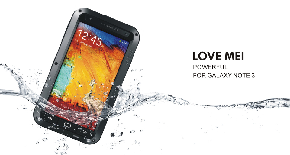 Original Powerful Dirtproof Waterproof Love Mei Metal Al powerful Case For Galaxy Note 3 N9000 + Gorilla Glass,Free Shipping(China (Mainland))