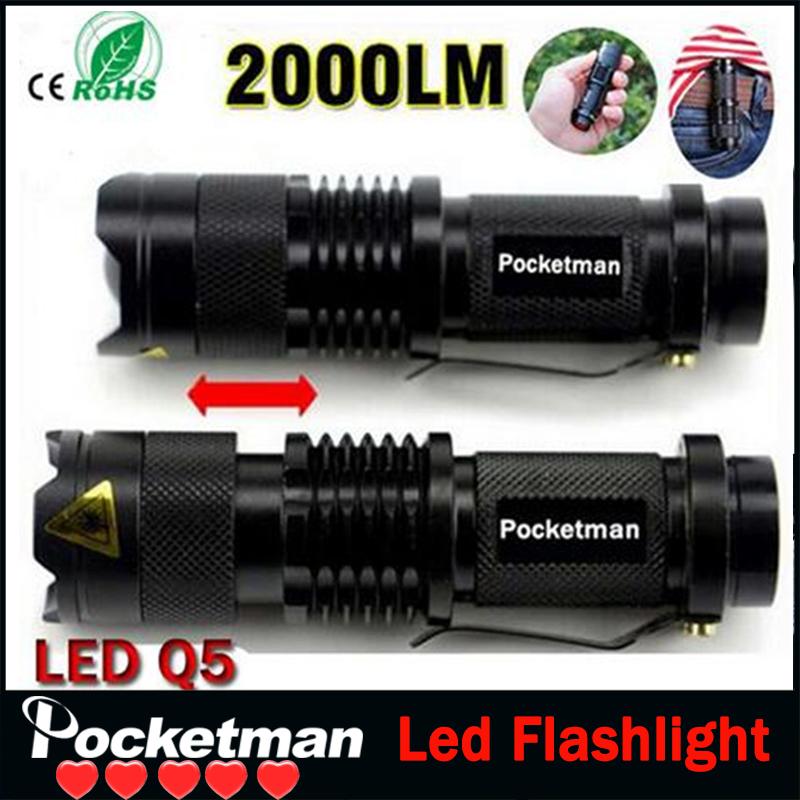 zk93 Free Ship Ultra Perfect Cree Q5 LED Flashlight High Lumens Power Mini Zoomable 3 Modes Waterproof Torch 14500/AA Battery(China (Mainland))