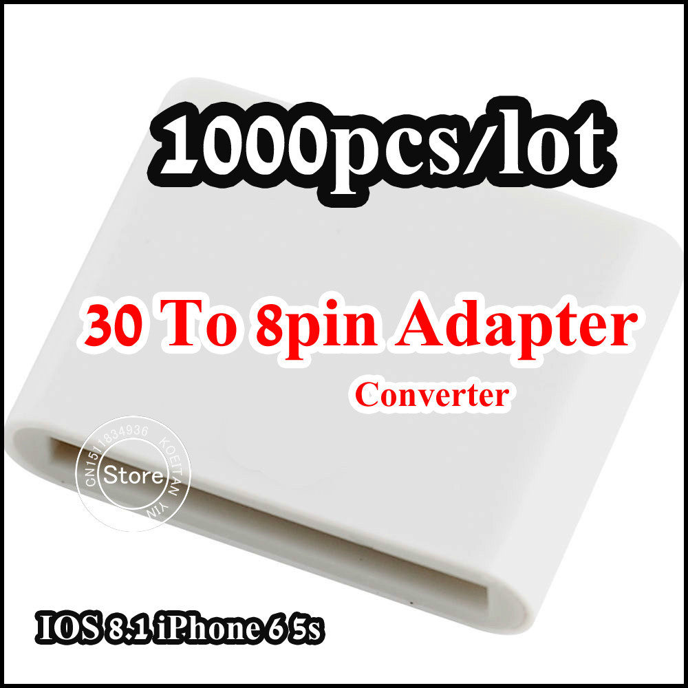 Free Shipping 1000pcs/Lot 30 To 8pin Sync data Charger Converter Adapter for iPhone 5 5S 6 plus IOS 8.3 With Retail packaging