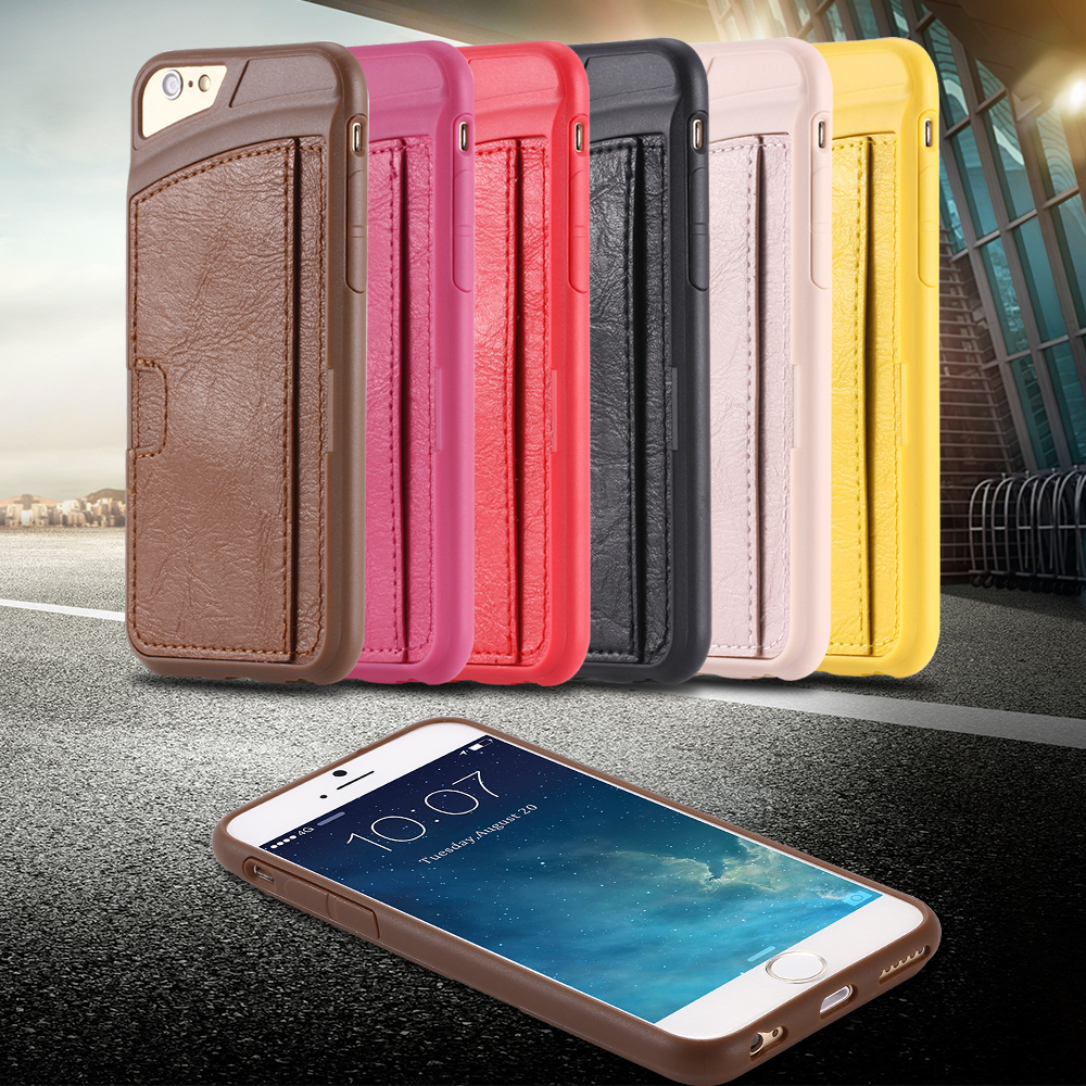 I6 Slim Back Case PU Leather Card Insert Cover For Iphone 6 4.7inch Portable Phone Bag Scratch-resistant Soft Mobile Phone Case(China (Mainland))