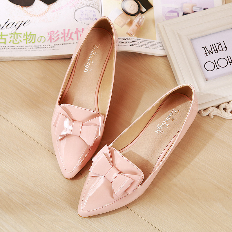 Fashion bow pointed toe women flats woman flat shoes ballet flats for ladies(China (Mainland))