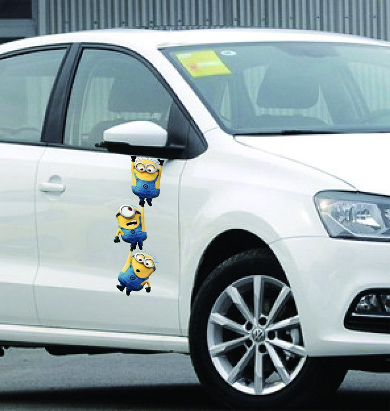 2016 New car cute styling 3D Despicable Me yellow man sticker car decoration accessories stickers For all cars Free shipping(China (Mainland))