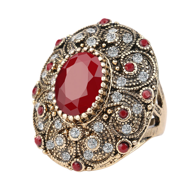 Мода старинные ювелирные изделия кольца уникальный покрытием древняя золото мозаика ааа кристалл большой овальный рубиновое кольцо для женщин 2016 Anillo