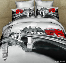(3-7 piece) 100% Organic Cotton 500T London style bedding set 3D satin bed cover unique bridge and bus bed set bed sheets(China (Mainland))