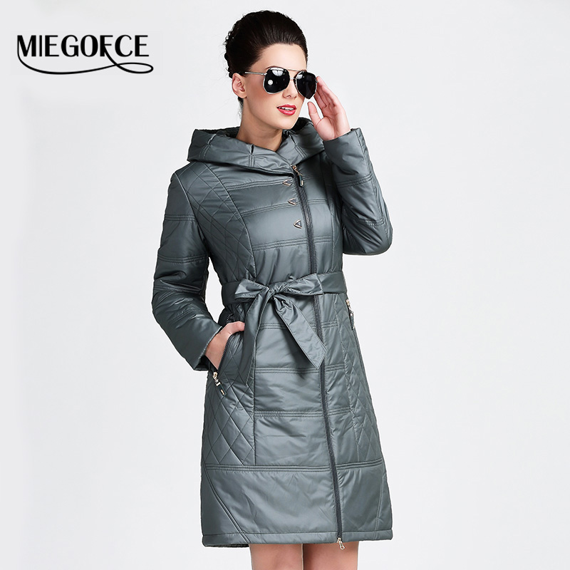 MIEGOFCE 2016 New Spring Collection Hooded Coat Keeps Warmth Women's Slim Outerwear Padded Jacket Thin Windbreaker EuropeStyle(China (Mainland))