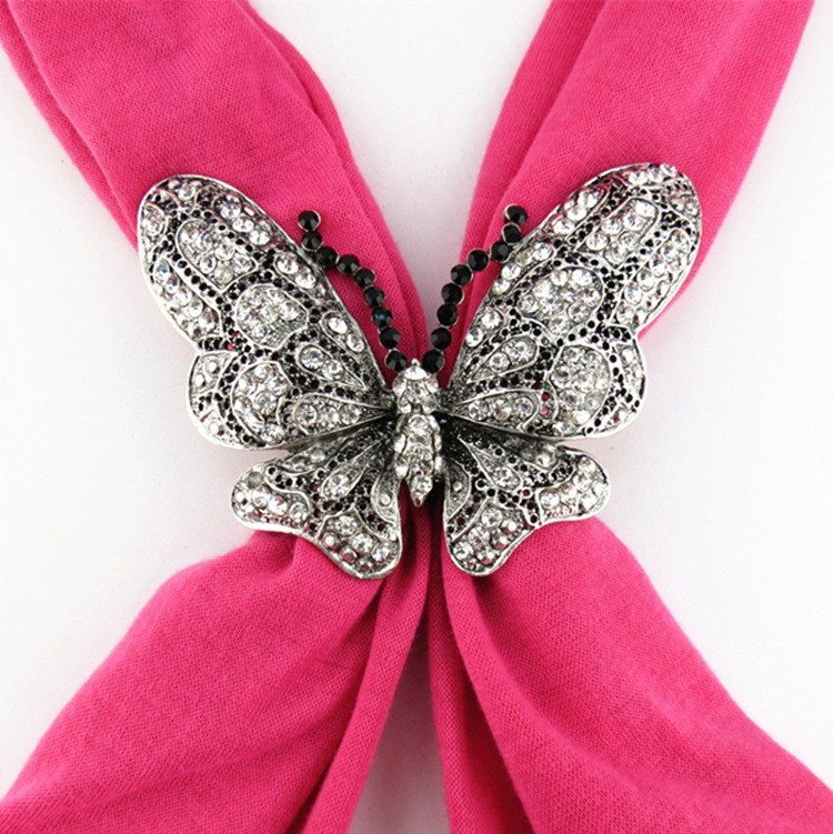 2016 New Style Jewelry Scarves Metal Butterfly Magnet Fastener Pendant scarf Women Shawl Free fast shipping