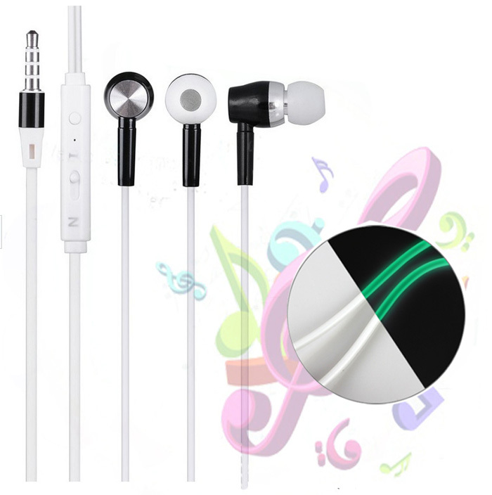 Metal Glow Earphone 3.5mm Noise Cancelling Stereo Glow in the Dark Earphones Headphones with Microphone for Iphone for Samsung(China (Mainland))