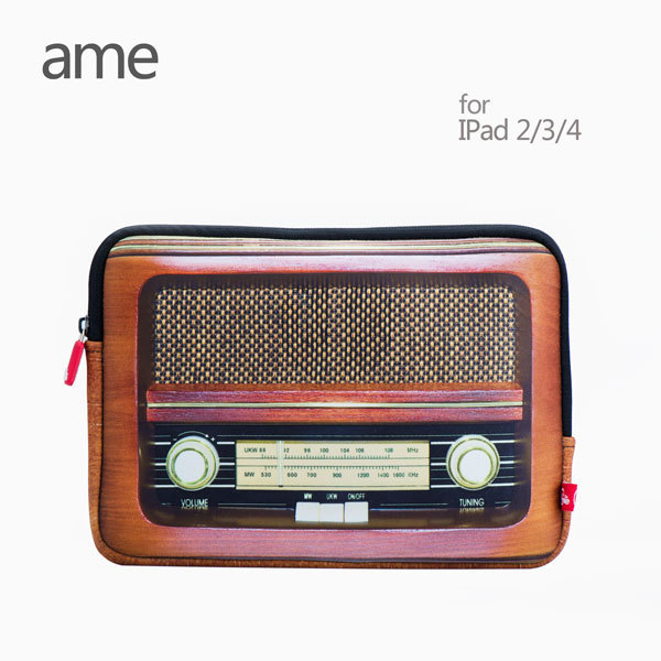 ame Simulation radio Polyester Tablet Sleeve case for ipad 4/3/2 pouch Tablet cases cover Casual case Water resist Shock Proof(China (Mainland))